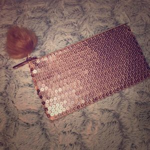 MAC rose gold sequin makeup pouch